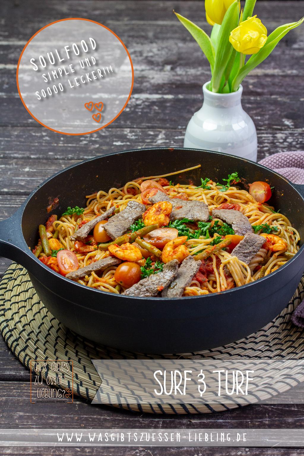 Rezept für Dinkelspaghetti Surf&Turf